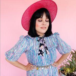 Vtg 80s Pastel Striped Silk Floral Bow Dress S M